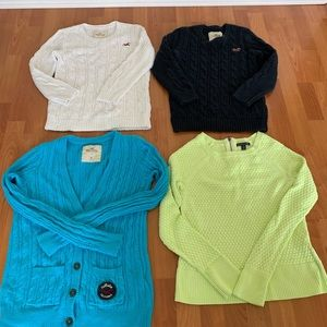 Lot of 4 Hollister and American Eagle sweaters.